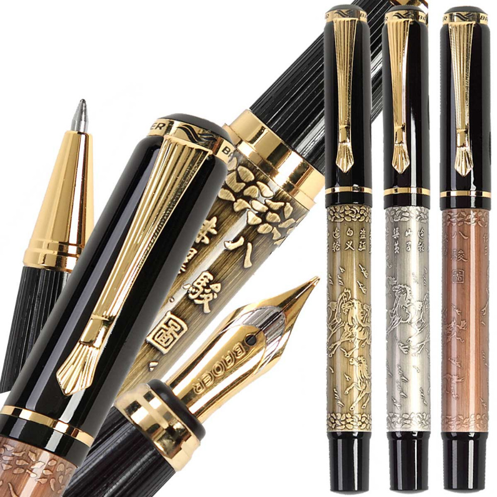 Set 2 of Fountain pen Or RollerBall pen BAOER 507  signature pens office and school stationery  Wholesale Free Shipping 8pcs lot wholesale fountain pen black m 14 k solid gold nib or rollerball pen picasso 89 big executive stationery free shipping