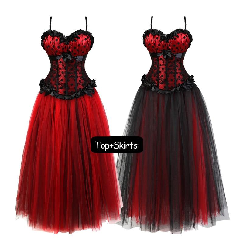 Womens Sling top Corset Dress Women's Steampunk Clothing Vintage Halloween Costume Gothic Corsets Long Tutu Dresses Set