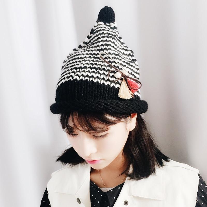 361543dc831 Winter Beanie Hat Women 2017 New Hot Fashion Casual Warm Thick Knitting  Hats Stripe Pin Black Hats Skullies Beanies