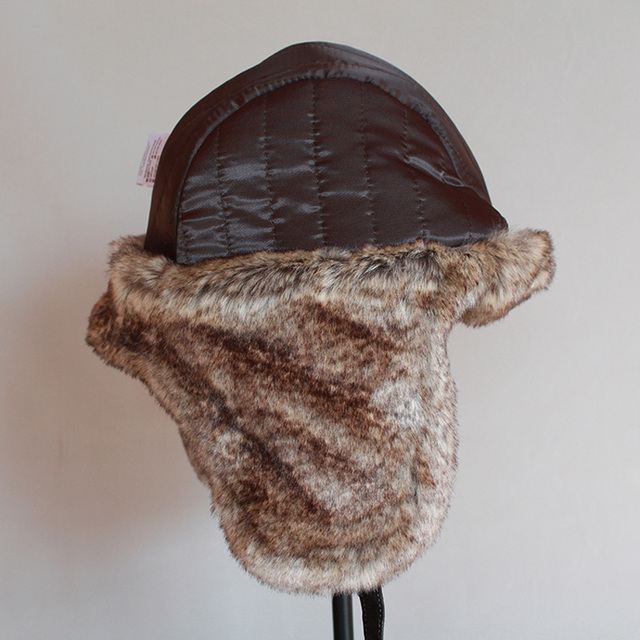Winter ushanka hat men women's  pilot aviator bomber trapper hat faux fur leather snow cap with ear flaps