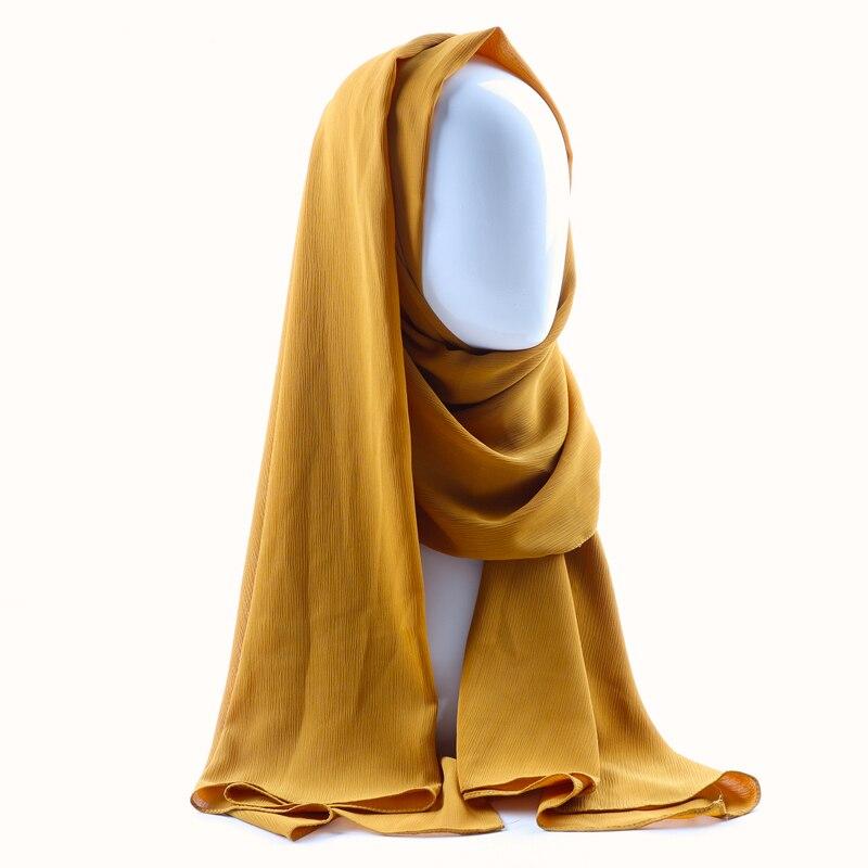 Image 2 - Цельный женский однотонный простой креп шифон хиджаб шарф  Обертывания мягкие длинные мусульманские платки хиджабы шифоновые шарфы  хиджабыЖенские шарфы