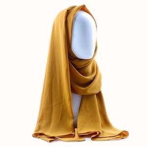 Image 2 - One piece women solid plain crepe chiffon hijab scarf wraps soft long islam shawls muslim crinkle chiffon scarves hijabs