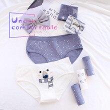 5pcs/Lot Cute Polar Bear Printed Women Underwear 100% Cotton  Lady Panties Comfortable Intimates Lovely Girl Briefs 0745-5