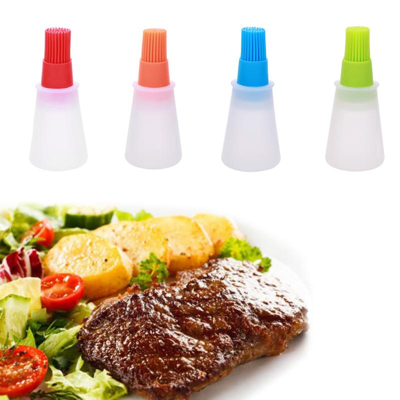 1Pc Grill Oil Bottle Brushes Tool Heat Resisting Silicone BBQ Basting Oil Brush Barbecue Cooking Pastry Oil Brushes Kitchen Tool