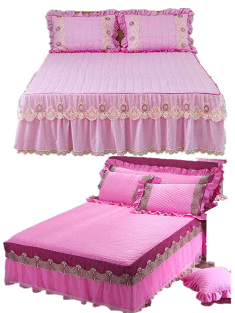 1/3pcs princess lace bed skirt high quality features new cotton sheets pillowcase wedding romantic bedding
