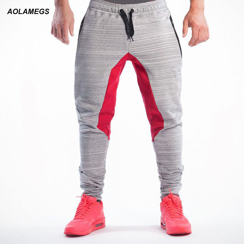 Aolamegs Men Casual Sporting Pants Fashion Patchwork Design Slim Fit Mens Jogger Trousers Professional Bodybuilding Sweatpants