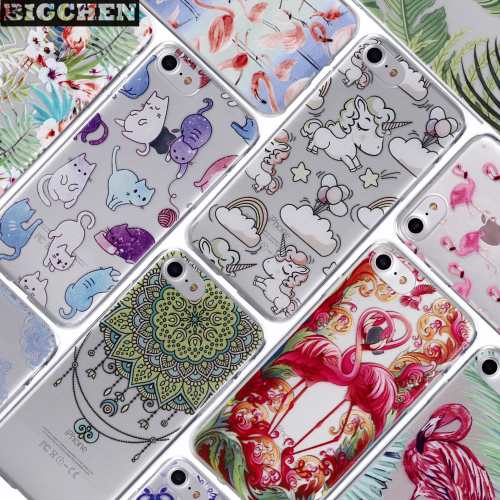 BIGCHEN Cases Cover For iPhone 7 Case 4.7 inch Color Drawing Soft Silicone TPU Cover Case For iPhone 8 Phone Back Fundas Coque