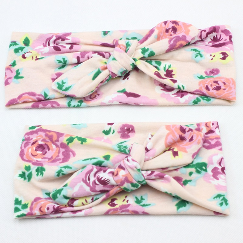 Mama Lovely Bohemia Elastic Stamp Bow Hairband Print Flower Bowknot Headband Turban Rabbit Knot Headdress Hair Accessories QLM twvds kids flower headband floral hairband turban knot rabbit bowknot headwear hair band accessories mz05