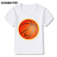3fc957a08dd1 Big Boy and Girl Cute Basketball Design T-shirts Children Short Sleeve Top  Tees Baby T shirt Summer Casual Soft White Tee Shirt