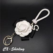 CX-Shirling Luxury  Black White Camellia Flower Keychain Letter 5 Pendant Car Key Chain Ring Pendant For Bag Charm Hotsale Gifts