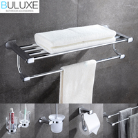 BULUXE Brass Luxury Bathroom Accessories Wall Mounted Towel Rack Ring Holder Toothbrush Cup Holder Accessories Set HP7725