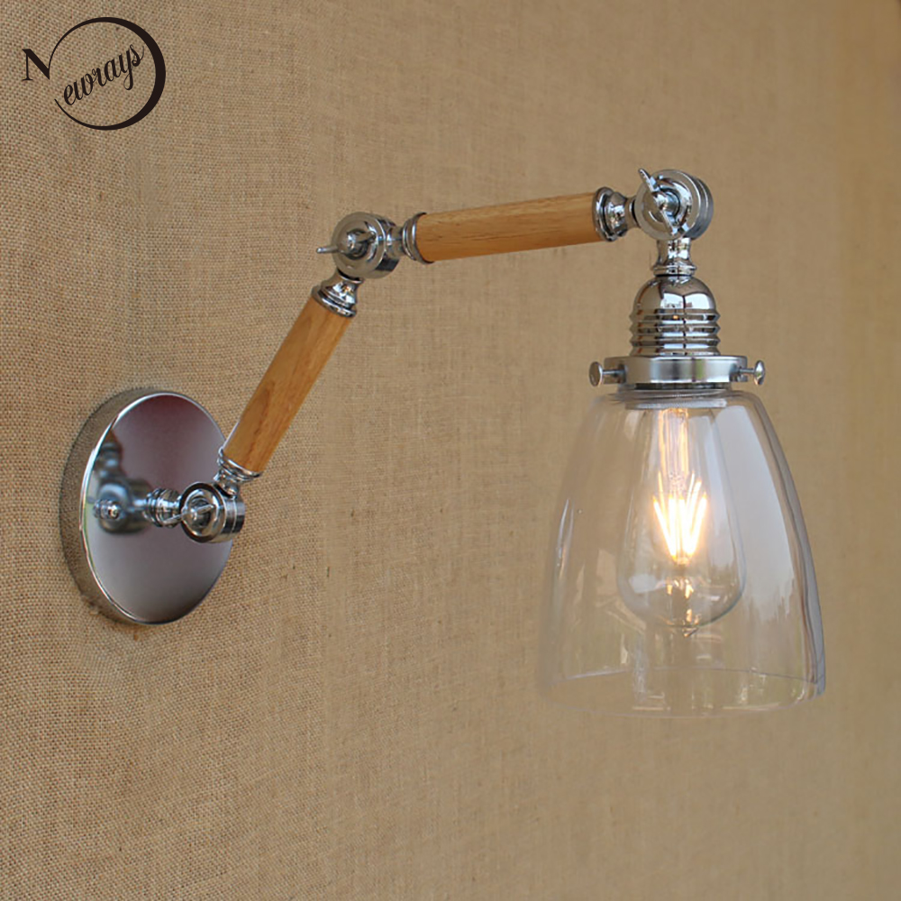 Wood glass shade adjustable swing arm industrial Vintage wall lamp e27 led modern light decorative for