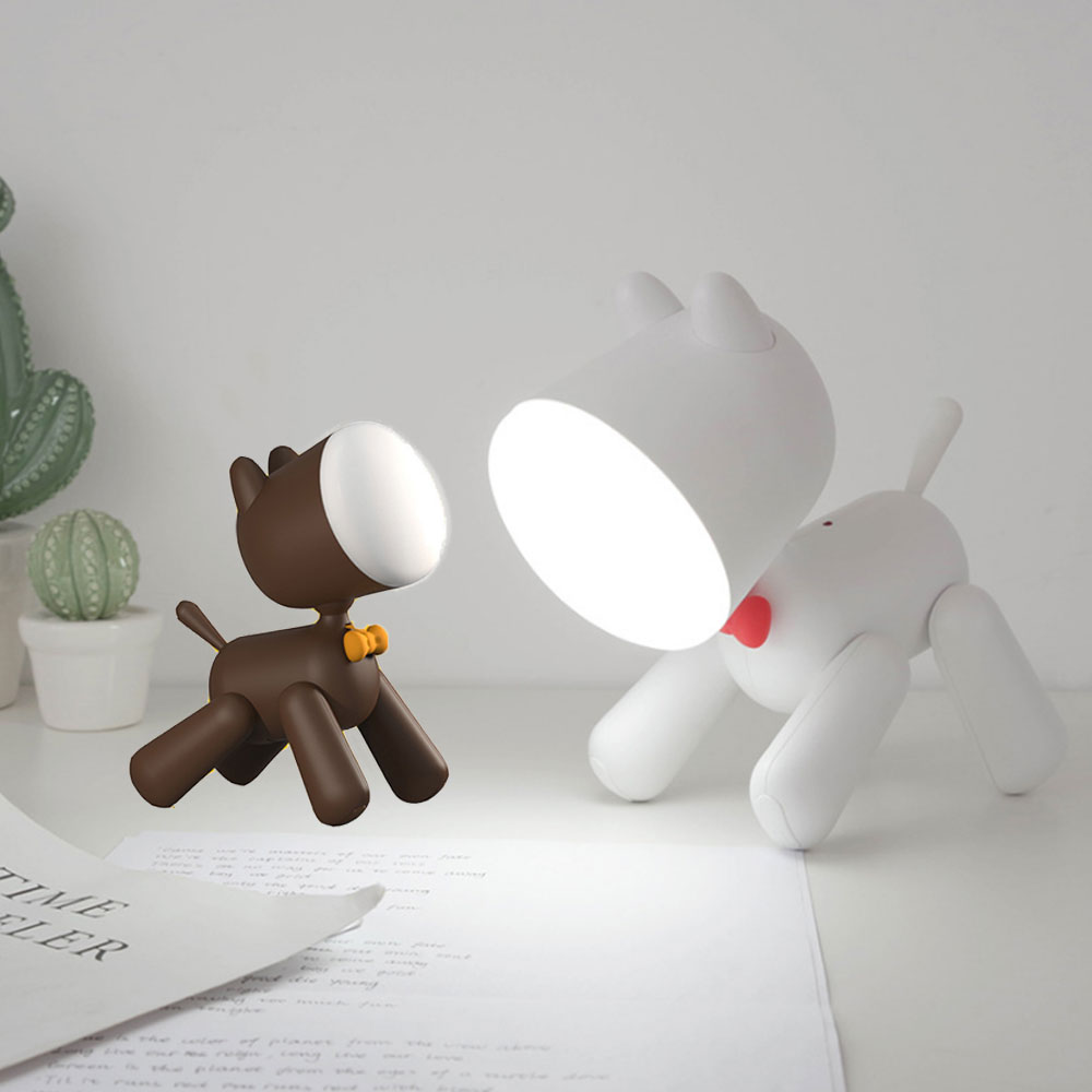 Puppy Cactus Night Light LED Baby Bedroom Bedside Lamps Cute Dog Potted Plant Night Lamp For Home Decoration Gifts For Children