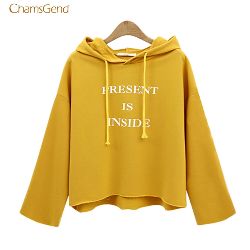CHAMSGEND 2018 Fashion Women Hoodies Winter Casual Style Gray Color Hoodies Crop Top Pullover Tops Casual Hoodie Female Hoodies