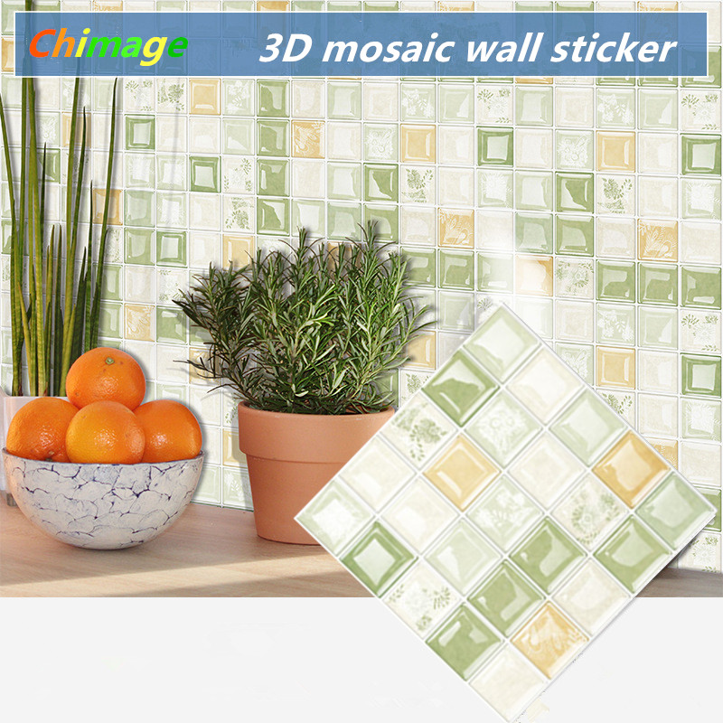 3D Self Adhesive Mosaic Tile Wall Sticker DIY Kitchen Bathroom Backsplash Home Decor Foil art Wallpaper B