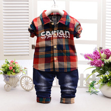 2016 Fashion Kids Clothes Grid Shirt + Pants Newborn Long Sleeve Baby Boy Clothes Gentleman Suit