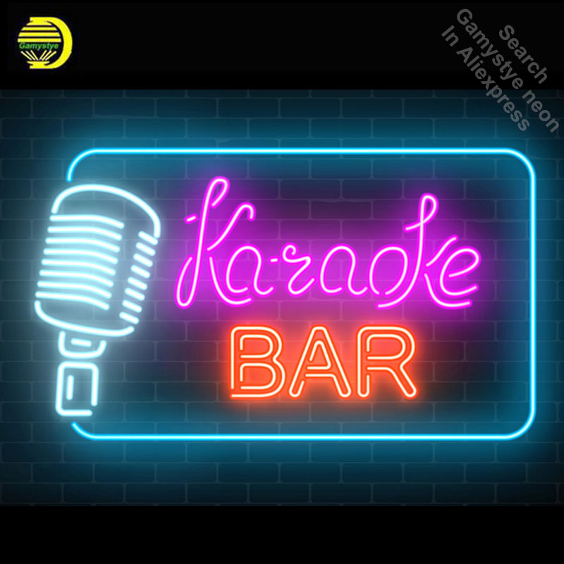 Neon signboard of karaoke music bar Neon Light Sign Beer Bar Pub Glass Tube Handcrafted Store Business Display lamp custom made image
