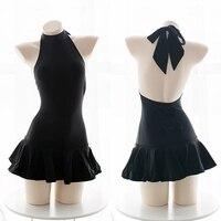 Cos saber Japanese swimsuit cosplay Fate Zero Stay Night sukumizu black swimwear
