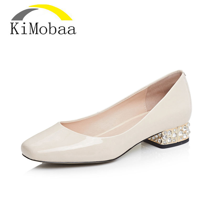 Kimobaa Office Lady Shoes Square Toe Shoes Woman Pumps Black Apricot All Match Low Thick Heel Size 33-43 Crystal Heel TX66
