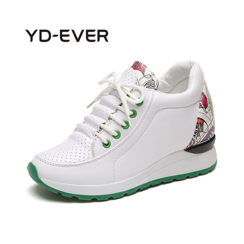 YD-EVER 2018 new women wedge platform shoes lace-up causal increase totem shoes folk-custom hard wearing totem superstar shoes