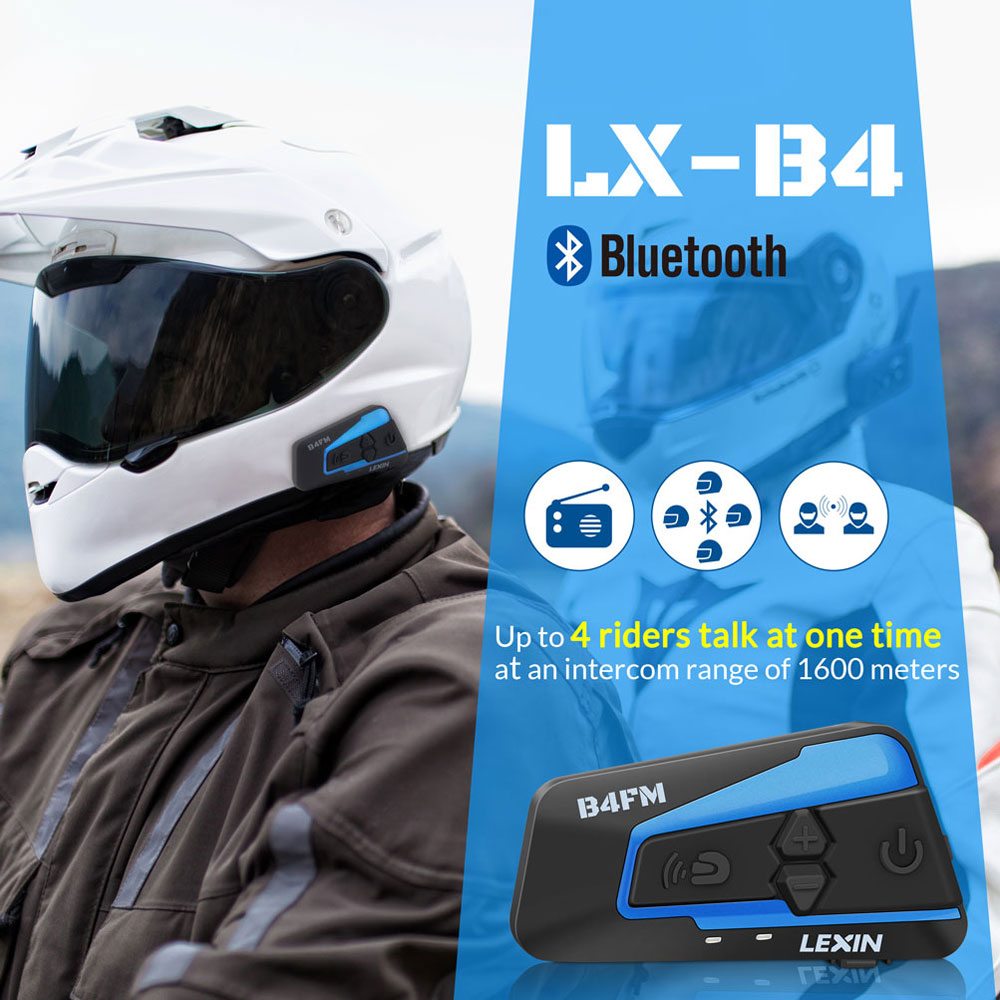 Image 2 - Lexin 1PCS 1500M 4 Ways Multi function Intercom Motorcycle Bluetooth Helmet Waterproof Group talk Headset with FM function-in Helmet Headsets from Automobiles & Motorcycles