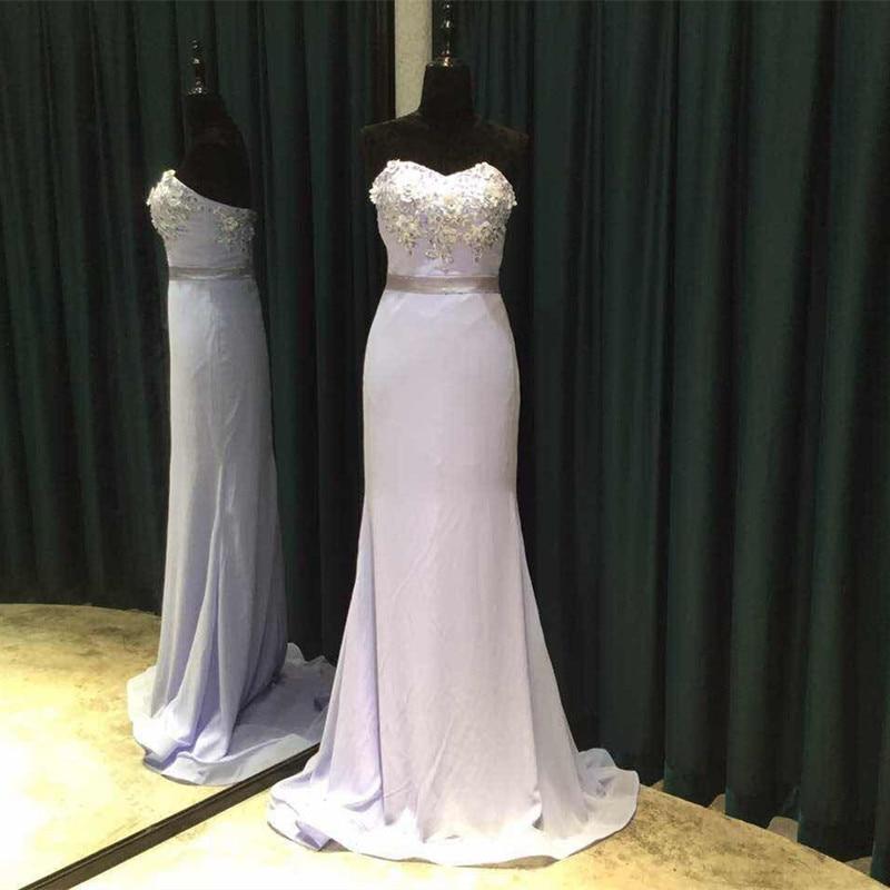 Zeemeermin Bruidsmeisjekleding 2018 Lieverd Schouder Mouwloos - Bruiloft feestjurken - Foto 4