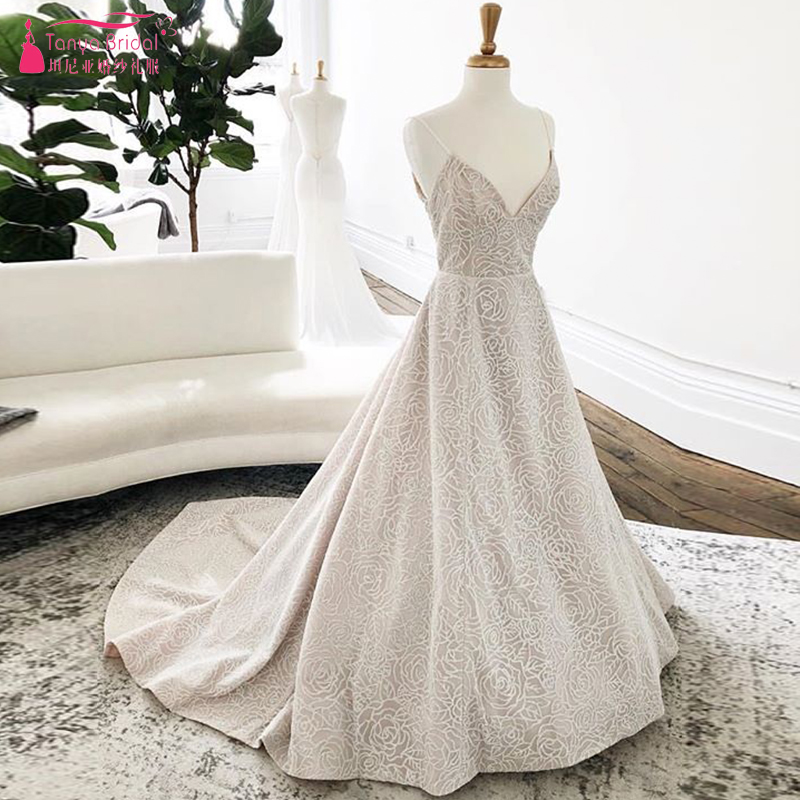 fb878bdb45 BIG SALE] Romantic Rose Lace Wedding Dresses V Neck Floor Length ...