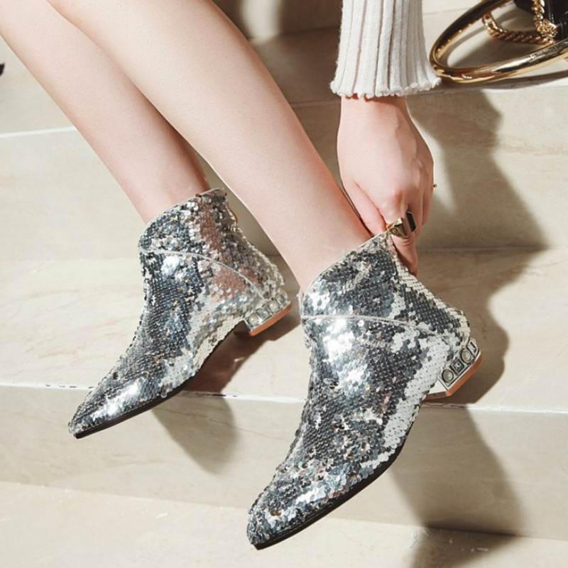 Brand New Glitter Ankle Boots For Women Fashion Pointed Toe Autumn Shoes Women Low Heel Comfortable Short Boots Heel Shose women s genuine leather low heel comfortable autumn ankle boots brand designer pointed toe elegant short booties shoes women hot