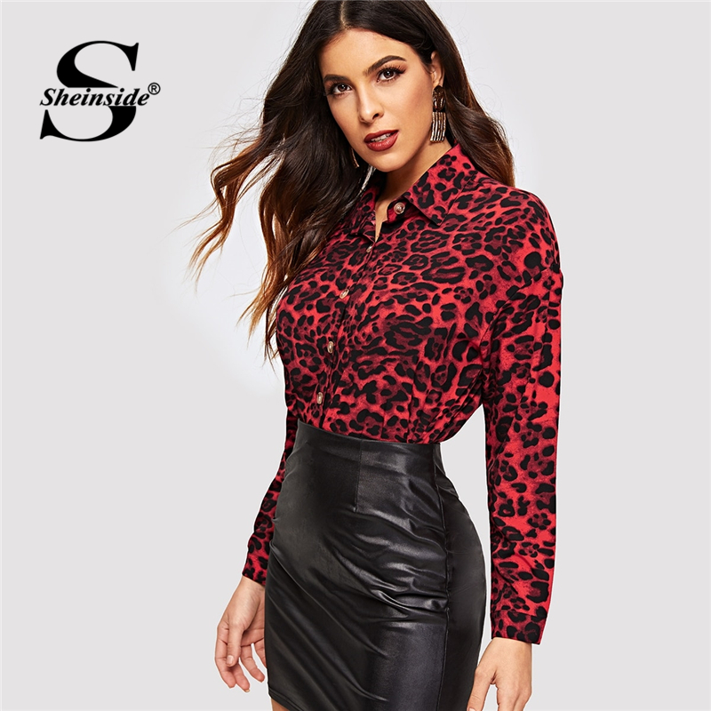 Sheinside Office Ladies Leopard Print Button Up   Blouse     Shirt   Women Long Sleeve   Blouses   &   Shirts   2019 Autumn OL Work Womens Tops