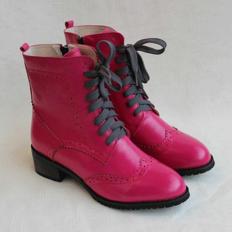 Winter New Rose Red Women s Boots British College Wind Carved Handmade Genuine Leather Thick Heel