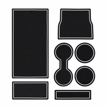 Latex Gate Slot Mats White + Black Cup Holder Console Wear resistant Decoration Protection For Tesla Model 3