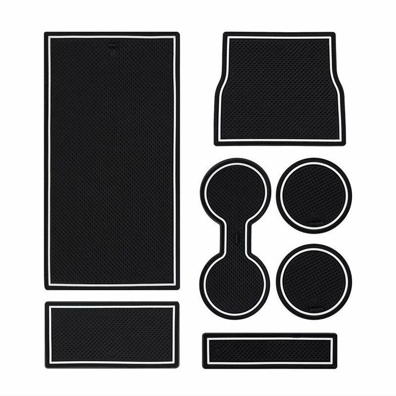 Tapis de porte en Latex blanc + noir 7 pièces Console centrale Protection de décoration résistante à l'usure pour Tesla modèle 3