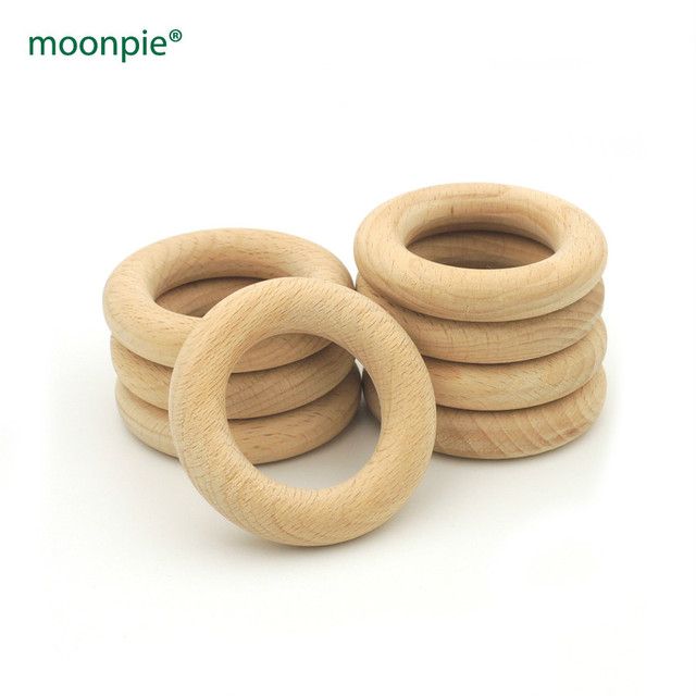 60mm DIY Natural beech Ring baby teether  2.36 inch 12mm thick safe baby toys 20pcs teething toddler EA366