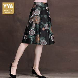 A-Line Skirts Real-Leather Flower-Printing Office Women Mid-Long Female Slim Lady New