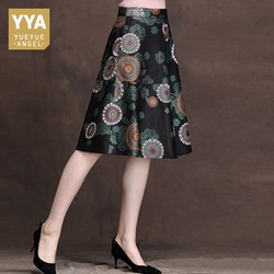 2019 Spring New Women Real Leather Flower Printing A-Line Skirts Mid Long Office Lady Genuine Leather Slim Pleated Skirts Female