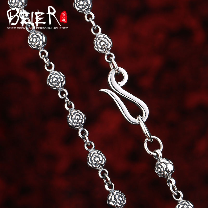 Beier new store 100% 925 silver sterling necklaces pendants trendy flower jewelry chains necklace for women/men  BR925XL024