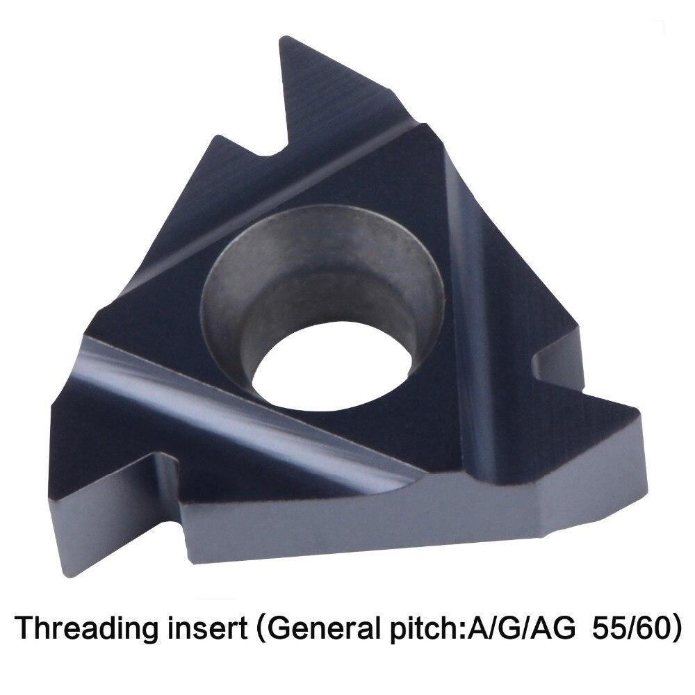 Купить с кэшбэком carbide threading insert 06IR 08IR 11IR 16IR 16ER AG60 22IR 22ER 27IR 27ER A55 A60 AG55 general pitch lathe thread tool Internal