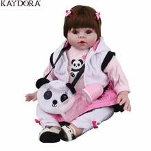 KAYDORA 55cm 22Inch Silicone Reborn Bebe Alive Doll Soft Realistic Bebe Girl Newborn Girl Baby Doll Panda Lifelike Kids Toys