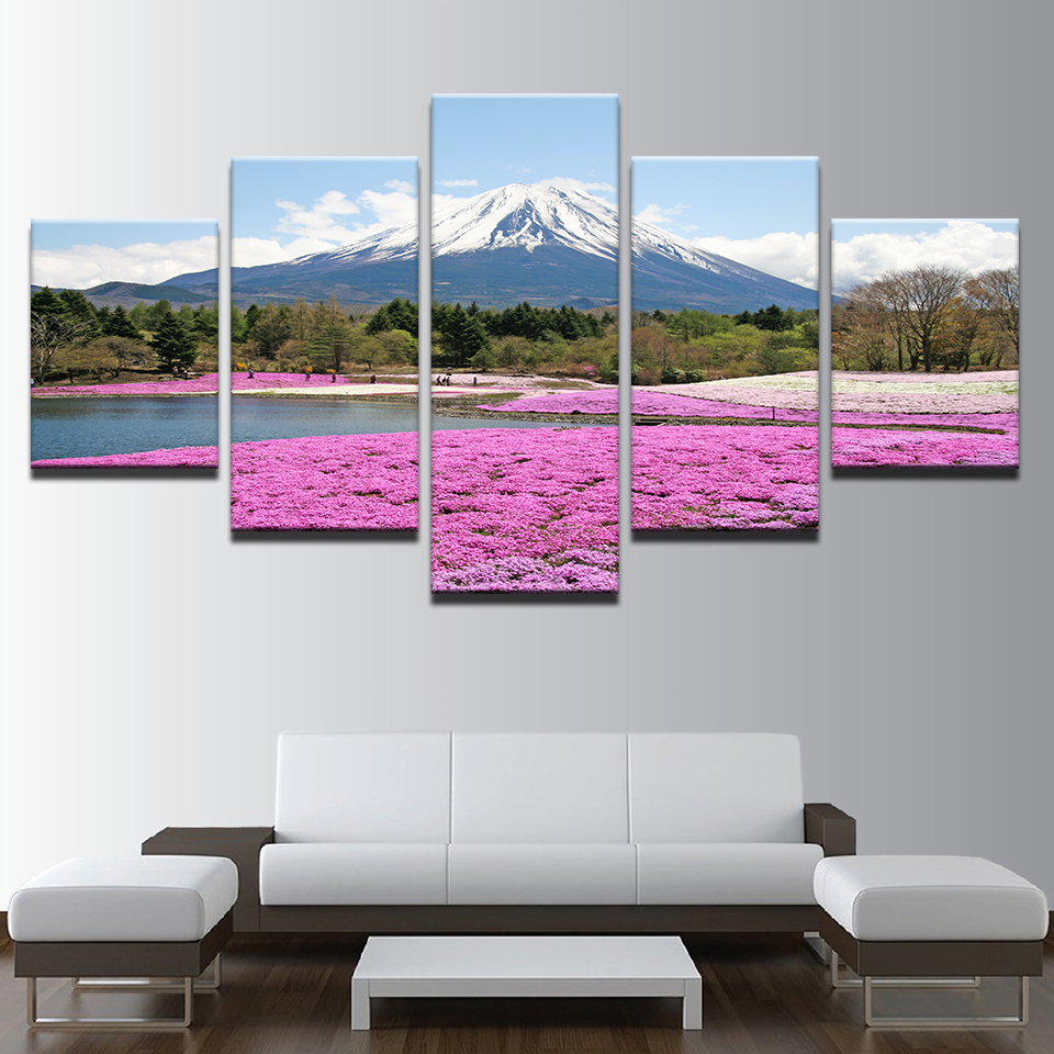 Wall Art Canvas Modular Poster 5 Panel Mount Fuji Snow Mountain Pink Flowers Home Decor Paintings Printed Living Room Pictures(China)
