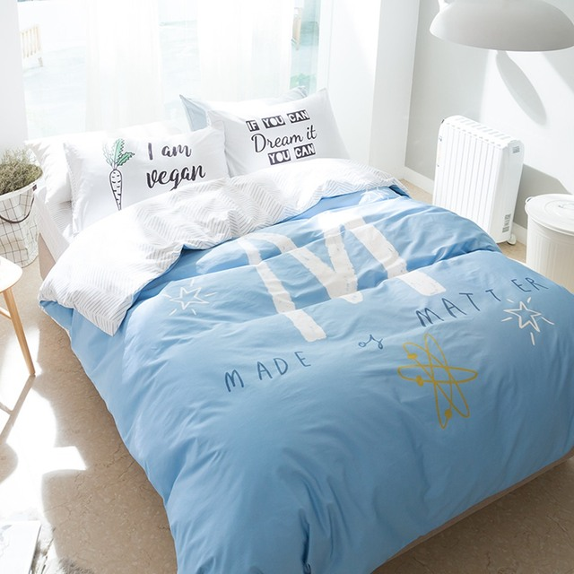 4pcs Light Blue Bedding Set Letter M Duvet Cover Letter Pillowcase