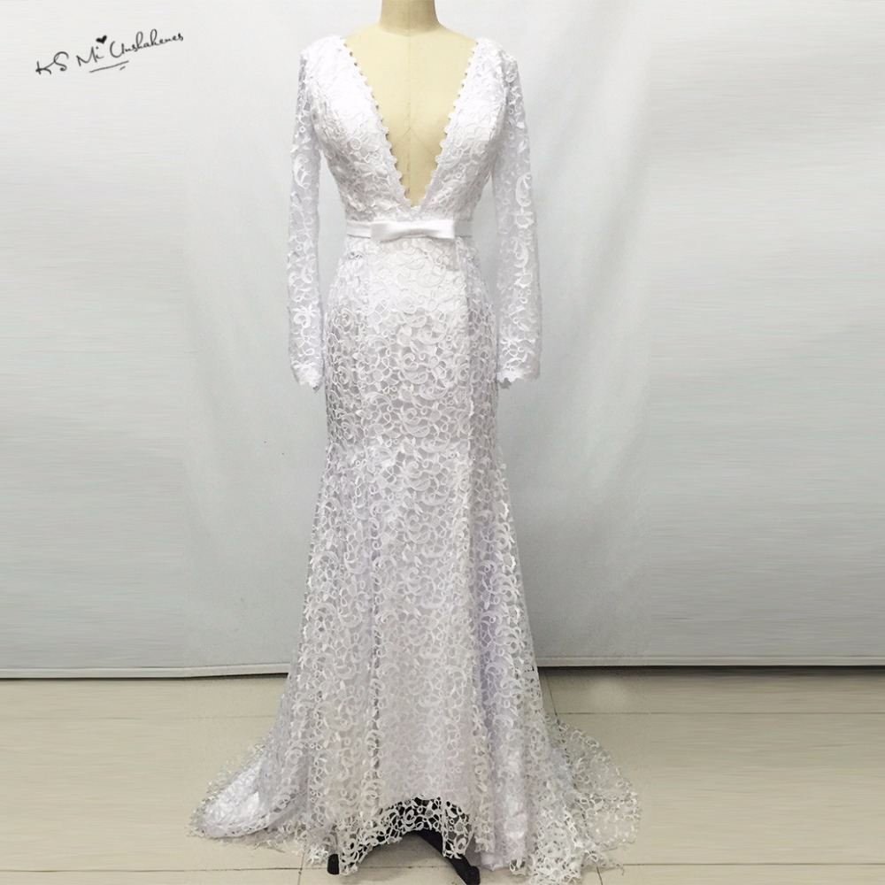 Buy sexy backless russian berta mermaid for Lace sleeve backless wedding dress