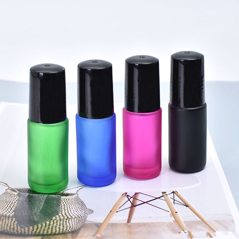 5pcs/Pack 5ml Frosted Thick Glass Perfume Roll on Bottle with Stainless Steel Ball Essential Oil Bottle Pink Blue Black Green himabm natural amethyst perfume bottle scent bottle essential oil bottle can volumetric flask birthday