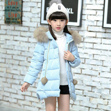 2016 High Quality Children'S Outerwear Baby Toddlers Girls Faux Fur Fleece Lined Hooded Zipper Women Girl Down Jacket For Girl