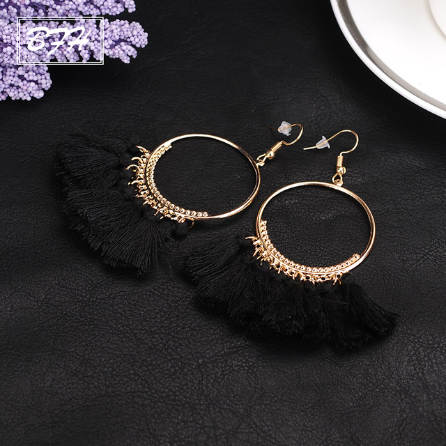 BFH Fashion Charm Large Circle Tassel Drop Earrings for Women Girl Wedding Party