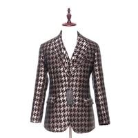 Модные мужские повседневная куртка Пиджаки для женщин коричневый Клетчатый узор тонкий шерстяной свадебные смокинг Бизнес вечерние пальт