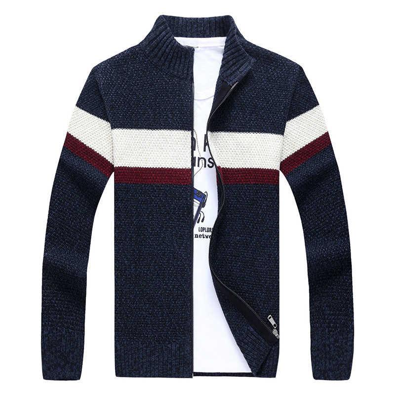 Fashion Sweater Pria Perca Bergaris Cardigan Pria Kerah Berdiri Lengan Panjang Musim Gugur Pria Sweater Hombre Mens Cardigan