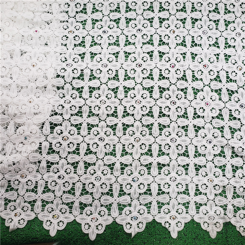 Factory offers White lace fabric high quality latest Brand African Guipure cord lace With stones fabric
