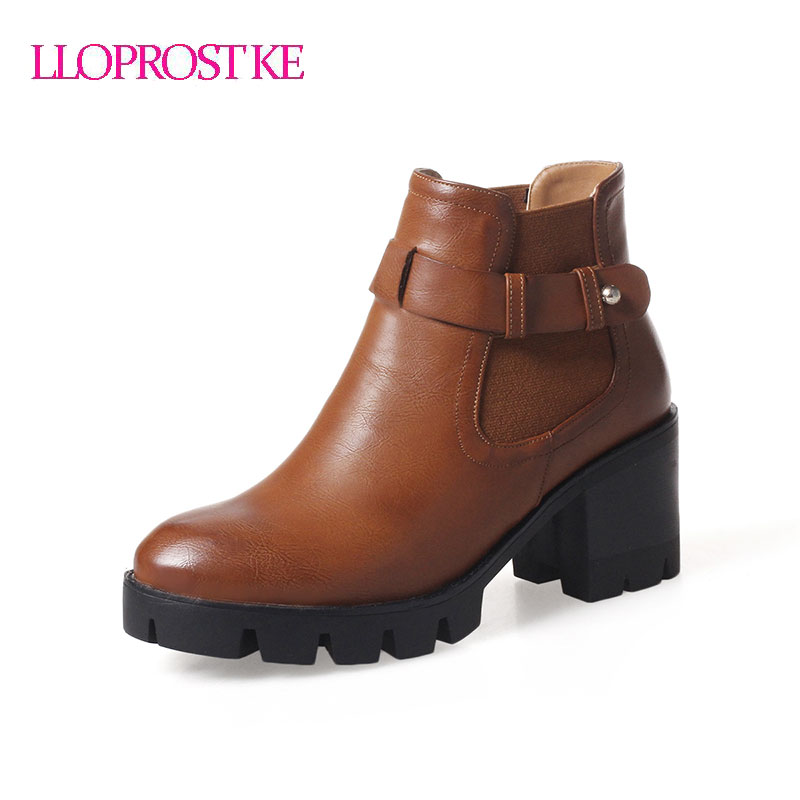 LLOPROST KE women ankle boots slip on buckle boots round toe shoes high heel thick heel platform shoes woman GL070 lloprost ke faux fur ankle boots women casual shoes botas slip on platform low heel mujer winter autumn boots big size zz041