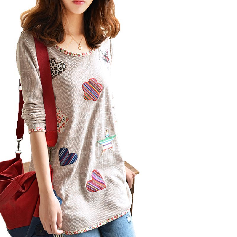 Camisetas Mujer 2016 Fashion Women Floral Print Loose fitting Female Long sleeved T shirt Pullover Large