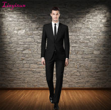 Linyixun Men's black formal suit men's wedding the groom wear business suit best man single breasted suit (jacket and pants)(China)